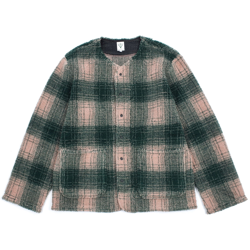 OMBRE PLAID BOA CARDIGAN