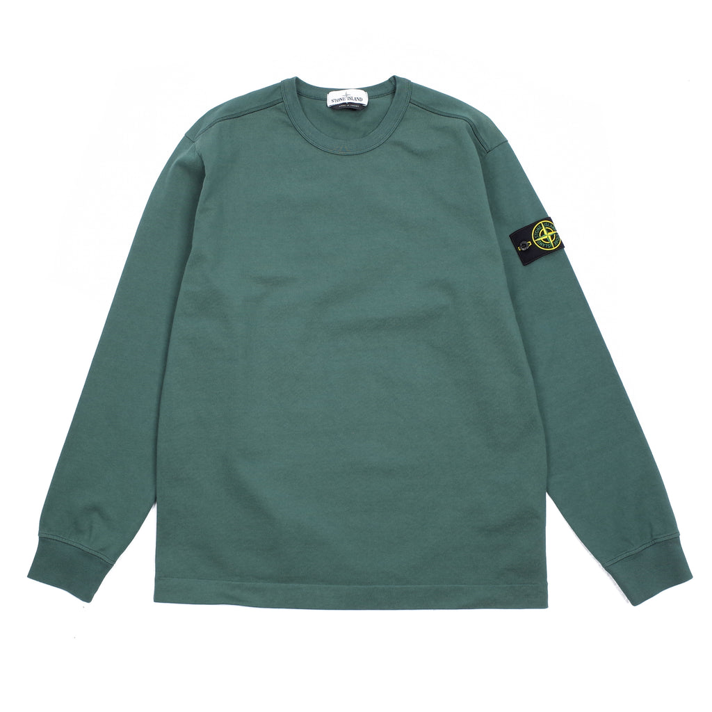 "GARMENT DYED LONG SLEEVE CREWNECK ""DARK TEAL GREEN"""