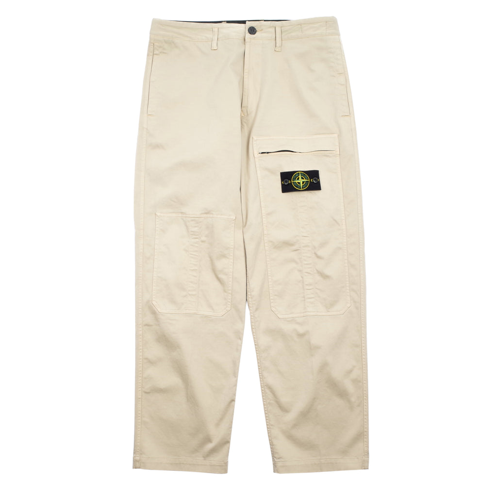 STRETCH COTTON/WOOL SATIN CARGO PANTS