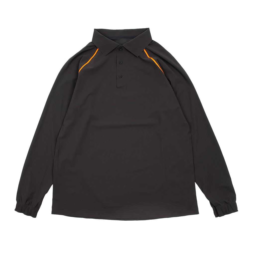 "TAPED ULTRASOUND LONG SLEEVE POLO ""BARK BROWN"""