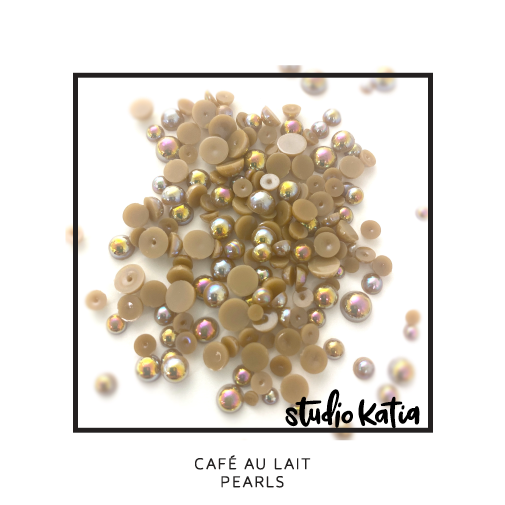 PEARLS, IRIDESCENT, COFFEE, BROWN, EMBELLISHMENTS, STUDIO KATIA, CRYSTALS, JEWELS, CAFE AU LAIT,
