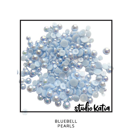 pearls, iridescent, scapbook, cardmaking, studio katia, embellishments, pretty, shiny, jewels, droplets, mint, sea, bluebell, blue