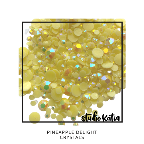 studio katia, embellishments, pearls, crystals, pink, jewels, cardmaking, cards, diy, pretty, shiny, glossy, sparkly, sparkles, cards, shaker, YELLOW, PINEAPPLE, PINEAPPLE DELIGHT