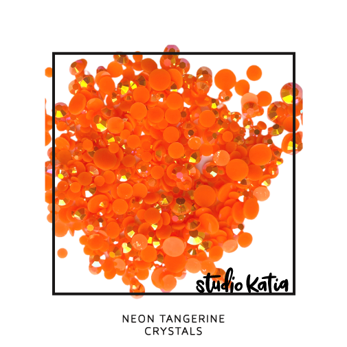 studio katia, embellishments, pearls, crystals, pink, jewels, cardmaking, cards, diy, pretty, shiny, glossy, sparkly, sparkles, cards, shaker, NEON, ORANGE, TANGERINE
