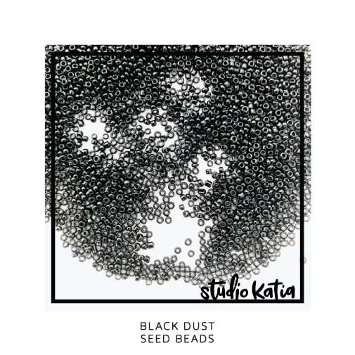black, dust, seed beads, beads, studio katia, shaker, cards,