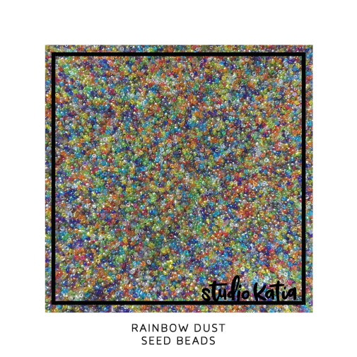 rainbow, dust, seed beads, studio katia, shaker, cards, birthday, party