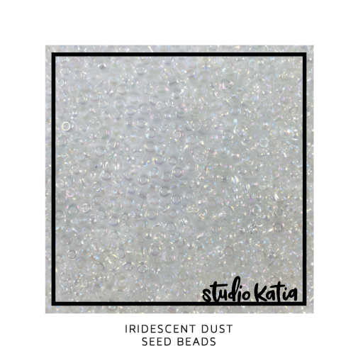 iridescent, dust, beads, seed beads, shaker, card, studio katia,