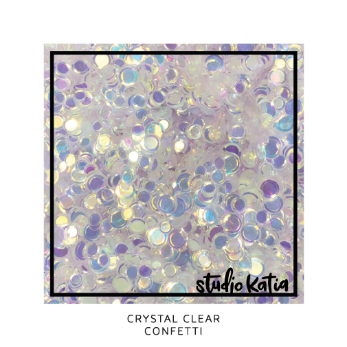 studio katia, confetti, crystal, clear, cardmaking, sequins, shakercard, srapbooking