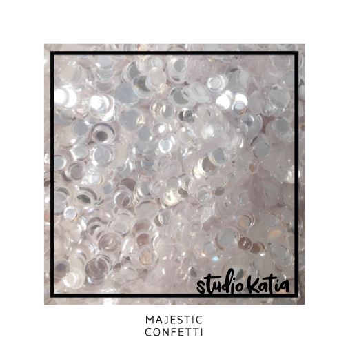 studio katia, confetti, crystal, clear, cardmaking, sequins, shakercard, srapbooking, moonshine, majestic, sparkling clear, icy