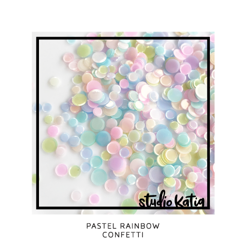 rainbow, confetti, pastel, pink, blue, yellow, baby, cardmaking, shaker card, mix, sequins, studio, katia,