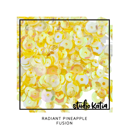 studio katia, sequins, mix, scrapbook, embellishments, pineapple, iridescent, yellow, pretty, shaker card, fun, birthday
