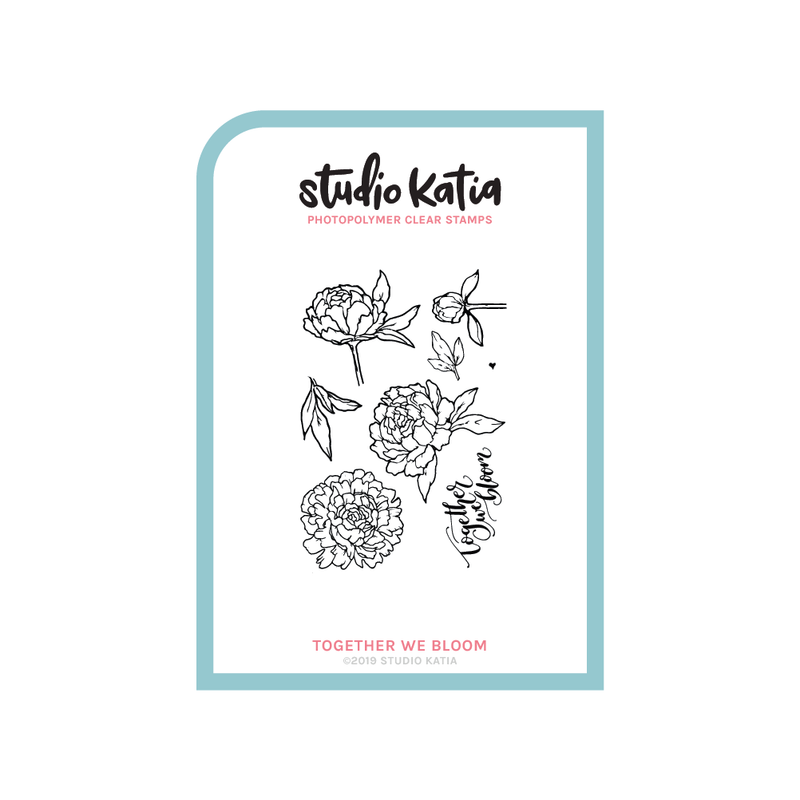 peony, together we bloom, stamp set, studio katia, love