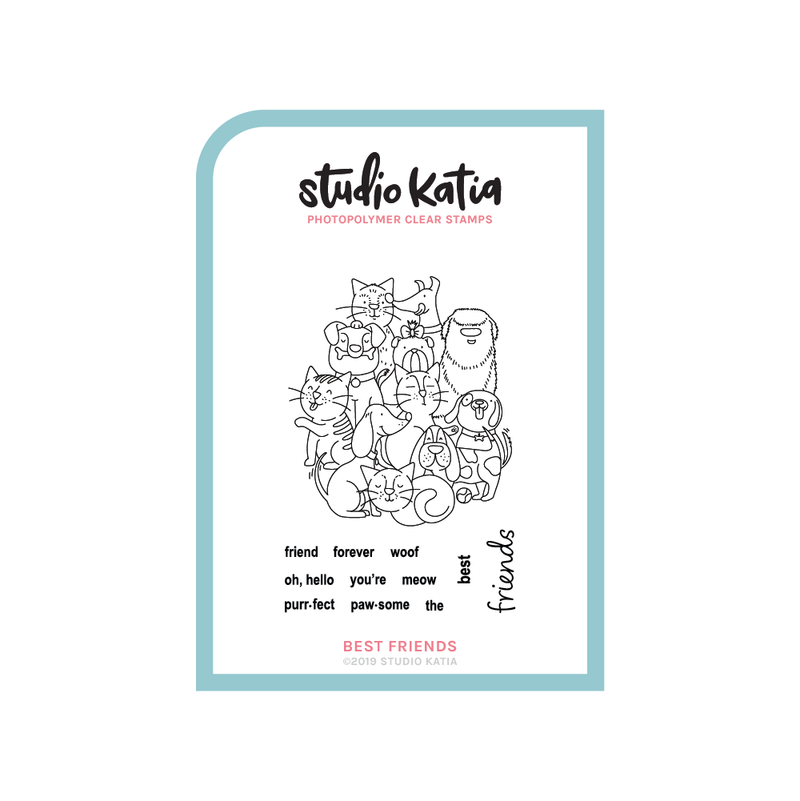 FRIENDS, STAMP, CLEAR, PETS, DOGS, CATS, GROUP, STUDIO KATIA, CARDMAKING, SCRAPBOOKING, FRIENDSHIP