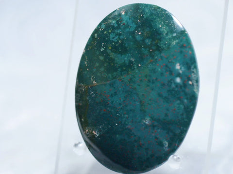 Bloodstone-Cabochon|Rock-N-Gem-Jewelry Bloodstone cabochon feature light and dark hues of green sprinkles with tiny red dots of a Jasper