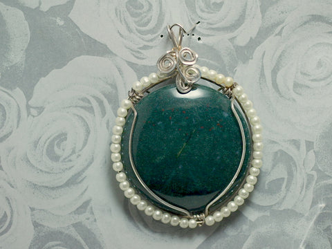 Pendant-Wire Wrap-Bloodstone-Pearls|Rock-N-Gem-Jewelry