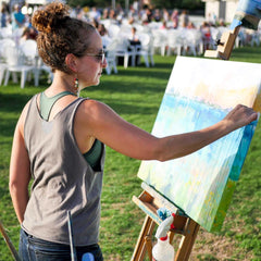 maxine orange abstract artist live painting bridal portraits