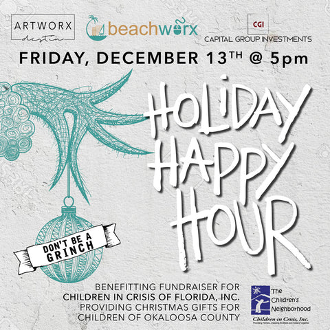 Artworx Beachworx Dont be a Grinch Holiday Happy Hour benefit Dec 13 Fri