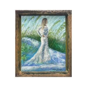 maxine orange abstract textured painting of fashionable bride on beach with sea oats and white sand dunes, heavy gloss resin and frame created from weathered wood up-cycled silk screen printing tray
