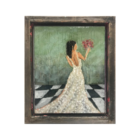 mixed media abstract bridal painting maxine orange checkerboard floor bride throwing bouquet green gloss resin  with frame made from upcycled silk screen tray 16x20 framed painting