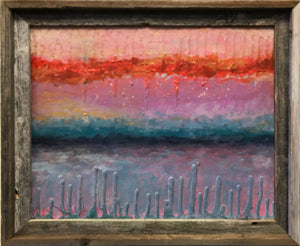FIRE SUNSET - 16x20 textured abstract surrealist landscape