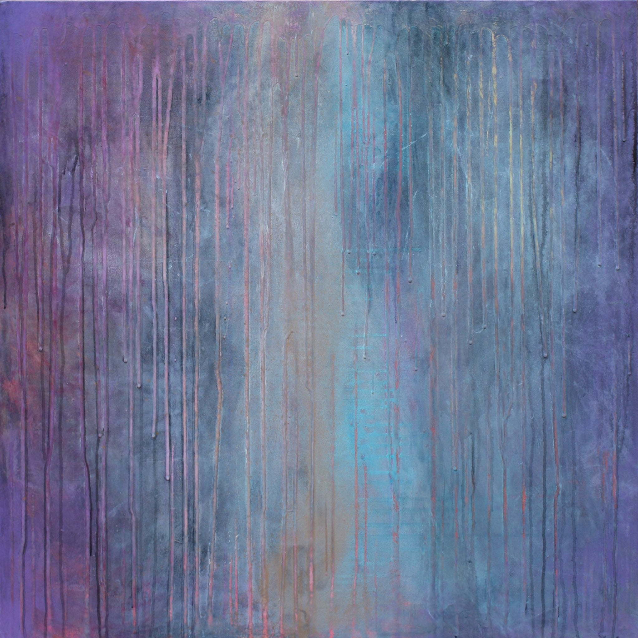 LAVENDER LUSH - mixed media surrealist abstract 36X36""