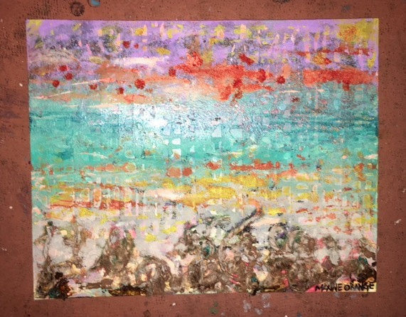 CHOCTAWHATCHEE Textured Abstract Surrealist Landscape 16x20