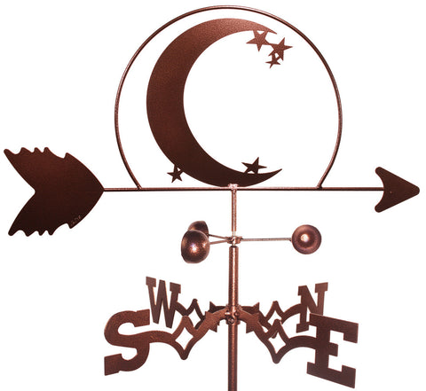 Crescent Moon and Star Design Weathervane