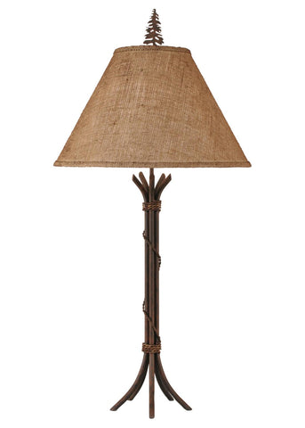 Wire Wrapped Metal Table Lamp with Pine Tree Finial