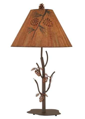Rustic Metal Pine Cone Table Lamp