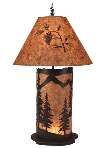 Pine Tree Design Large Table Lamp with Nightlight