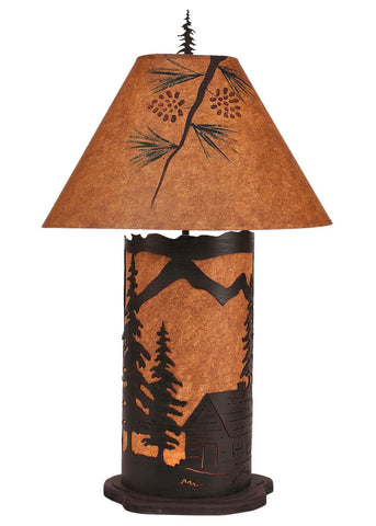 Cabin Design Large Table Lamp with Nightlight