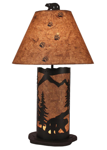 Bear Scene 30 Inch Table Lamp with Nightlight