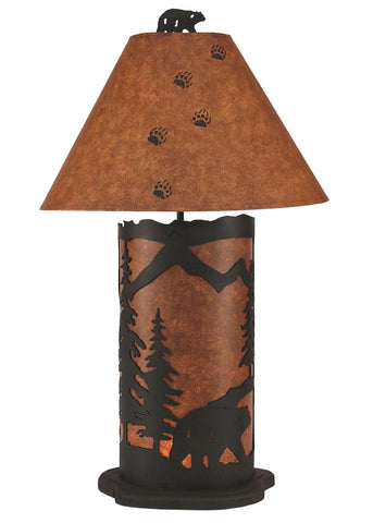 Bear with Pine Tree Design Large Table Lamp with Nightlight