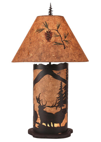 Elk with Pine Tree Design Large Table Lamp with Nightlight