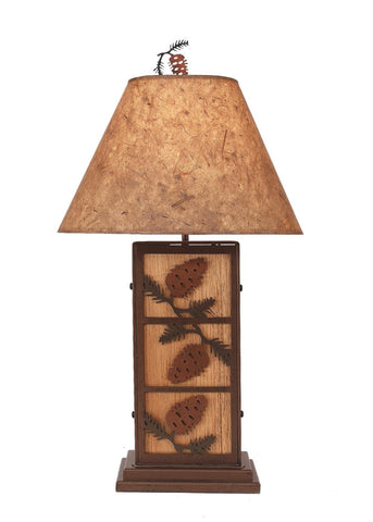 Pine Cone Design Iron / Wood Table Lamp