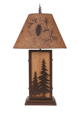 Feather Tree Iron / Wood Table Lamp
