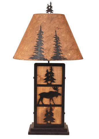 Moose & Pine Tree Rustic Table Lamp