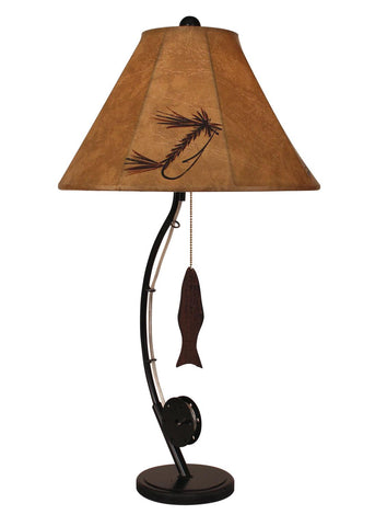 Fly Rod Table Lamp with Wooden Fish