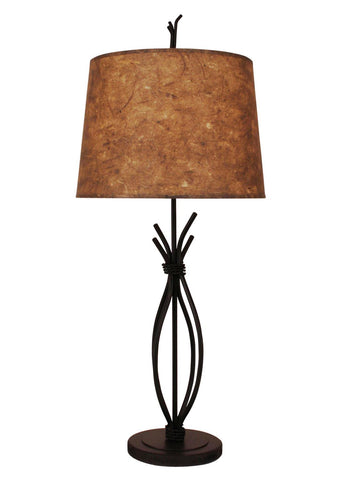 Rustic Metal Iron Stack Table Lamp with Braided Wire