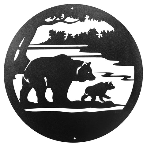 Black Bear with Cub Round Metal Wall Art