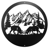 Fighting Bull Elk Design Round Metal Wall Art