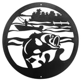 Bass Fisherman Round Metal Wall Art