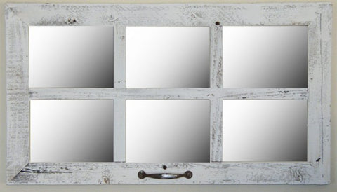 16X28 6 Pane Barnwood Window Mirror