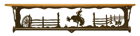 "Bronc Rider 34"" Towel Bar Shelf"