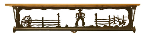 "Cowboy Design 34"" Towel Bar Shelf"
