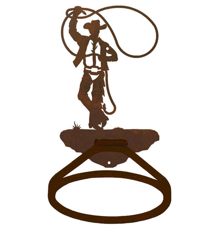 Roping Cowboy Design Towel Ring