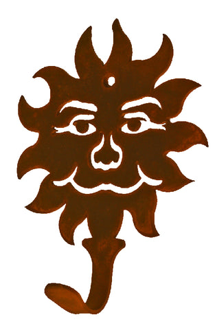 Sun Face Design Single Metal Wall Hook