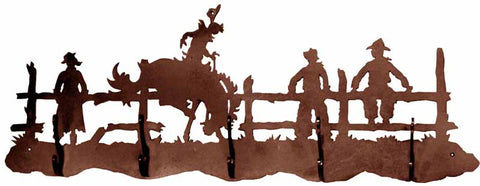 Bronc Rider 5 Hook Metal Wall Coat Rack
