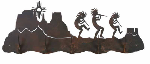 Kokopelli Design 5 Hook Metal Wall Coat Rack