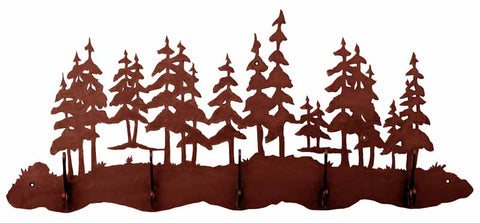 Pine Forest Design 5 Hook Metal Wall Coat Rack